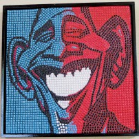 "This President Obama mosaic — titled ""We Won!"" — was created with tiny ceramic tiles."