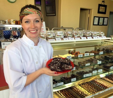 Manager Liz Wing welcomes customers to Amy's Decadent Chocolates in Bremerton.
