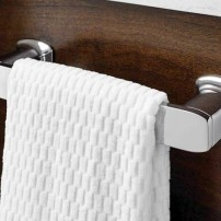 Via towel ring or toilet tissue holder in chrome by Moen