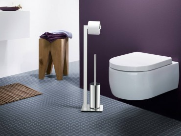 Civio freestanding toilet tissue and brush holder in stainless steel by Zach
