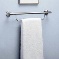 Combination grab bar and towel bar in satin nickel by Moen