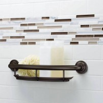 Grab bar with shower toiletry shelf in oil-rubbed bronze by Moen