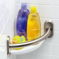 Corner shower shelf with grab bar in satin nickel by Moen