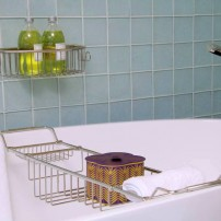 Essentials traditional adjustable bathtub rack in chrome by Valsan