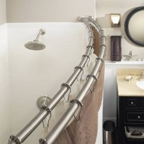 Curved double shower rod in satin nickel by Moen