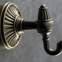 Tuscan robe hook in German bronze by Top Knobs