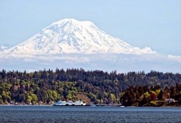 Mt. Rainier over Puget Sound (Photo by Ed Johnson)