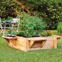 Raised bed bench garden