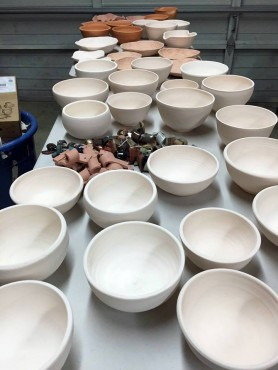 Bisque bowls ready to be glazed
