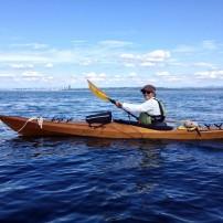 Jane Trancho paddles in the beautiful kayak she built herself.