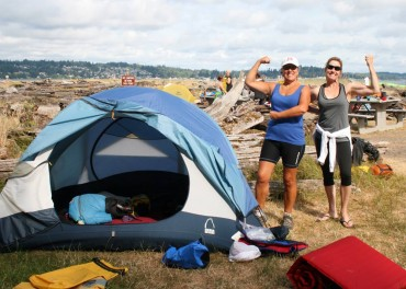 Laureen Lund and Mary Tolbert are proud they got their tent set up.