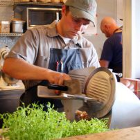 Chef Will Rieck prepping for the Brix 25º wine dinner
