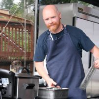 Chef Thad Lyman of Brix 25º prepares for the celebrity chef cook-off.