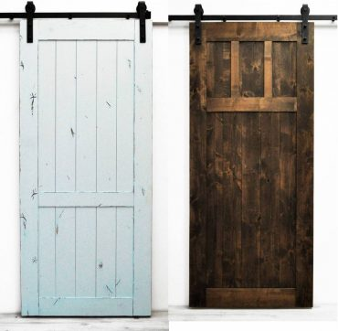 Barn doors and barn door hardware can fit many aesthetics, as demonstrated here with Dogberry Collections country vintage and craftsman-style doors.