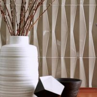Diplomate and Ambassador wall tile in Smoke from the Studio Moderne series by Walker Zanger