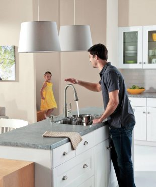 "Moen's ""motionsense"" Delaney faucet functions at full water pressure when the sensor is activated."