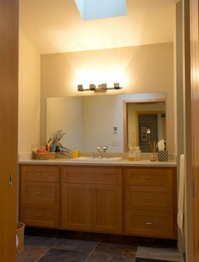 Remodeled bath with skylight