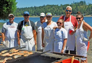 The Salmon Crew will be grilling salmon on Saturday at Allyn Days (Photo by Joyce Bosley)