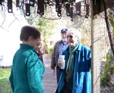Harmony Hill Retreat Center - Founder Gretchen Schodde on a tour of the gardens with retreat attendees