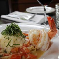 Manor House Restaurant - Shrimp scampi with Via Rosa spaghetti