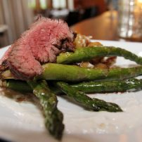 Manor House Restaurant - Grilled Bavette with fried fingerling, grilled asparagus and horseradish cream sauce