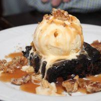 Manor House Restaurant - Fudge brownie with bourbon caramel and candied walnuts