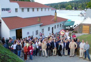 Gig Harbor BoatShop - The gathering on the day the boatyard restoration was celebrated in late 2009 — following a grass-roots campaign and a voter-approved $3.5 million bond — included more than a hundred people, as well as First Gentleman Mike Gregoire and other dignitaries.