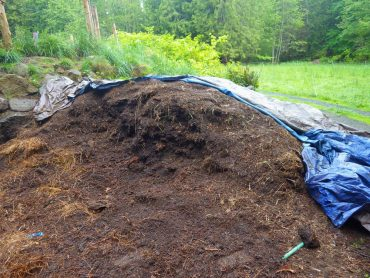 A tarp will prevent nutrients and moisture from escaping during the rainy season.