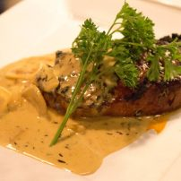 Applewood smoked pork loin in marsala cream