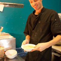 Chef Cory dishes up homemade, organic corn chowder.