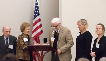 """Left to right, Dr. Meredith """"Buz"""" Smith (Helen Langer Smith's husband) and Helen Smith with Bob Nichols (Martha & Mary trustee) and their daughters, Cydly Smith (chairwoman of Kitsap Bank) and Stephanie Smith, at the awards ceremony."""