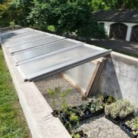 A deep cold frame in the Chanticleer garden in Pennsylvania is very versatile.