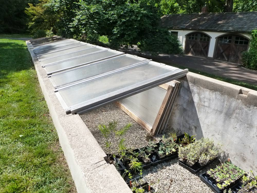 a deep cold frame in the chanticleer garden in pennsylvania is very versatile