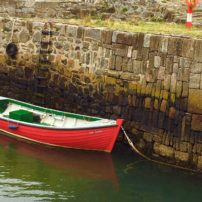 Lone fishing boat in Cullen, Scotland
