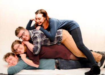 Get awkward with [title of show]! Pictured: Garrett Dill as Jeff, Jasmine Joshua as Susan, Adam Minton as Hunter, Myriah Riedel as Heidi