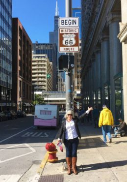 In downtown Chicago, the beginning of Route 66