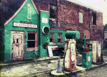 Old gas station in Commerce, Oklahoma