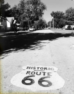 Throughout the route, road painting and historic brown signage help guide you.
