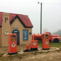 Partially restored Phillips 66 service station in McLean, Texas