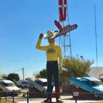 "Cadillac RV Park says ""howdy"" with this giant cowboy in Amarillo, Texas."
