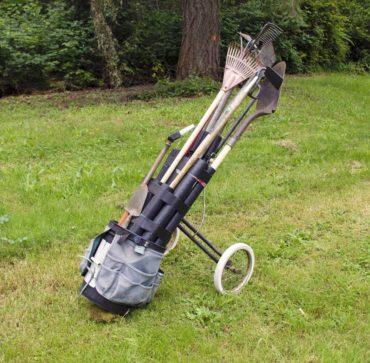 Former golf cart converted to a garden tool cart