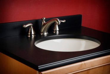 PaperStone vanity counter in Slate (Photo courtesy Panel Tech)