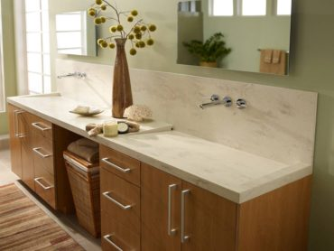Solid-surface vanity counter in Clamshell by Corian (Photo courtesy Dupon)