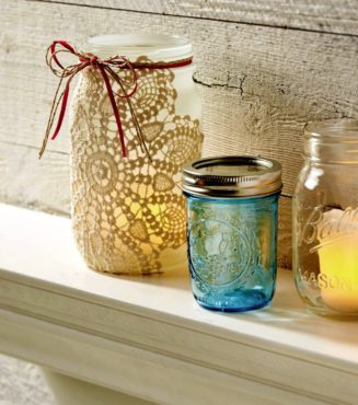 Frosted Ball Jar with Doily