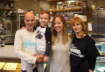 Jake's is family-owned and operated. Jake with his son, wife and Mom