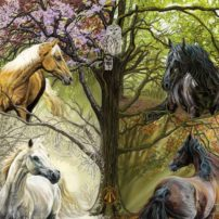 """Horses of the Four Seasons"" by Kim McElroy. Says the artist, ""'The Horses of the Four Seasons' spin in a whirlwind of color. These stallions and mares dance among the leaves, petals and snowflakes of one tree simultaneously expressing four seasons. Here, all of nature sings a chorus of harmony."""