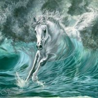 """Poseidon's Gift"" by Kim McElroy. ""This stallion born of the ancient tides is a gift from Poseidon, god of the sea,"" she says. ""This myth is why poets and sailors told tales of the white horses in waves, and even today surfers call them 'mare's heads.'"""