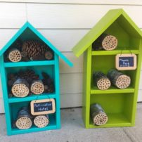 Mason bee homes made out of reclaimed materials then given a crafty paint job. All parts are removable, if needed.