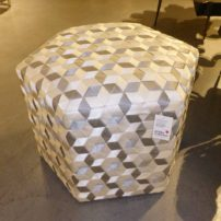Recycled ottoman made from postconsumer seatbelt scrap from the Phillips Collection