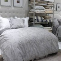 Luxe bedding in gray-on-gray by Annie Selke